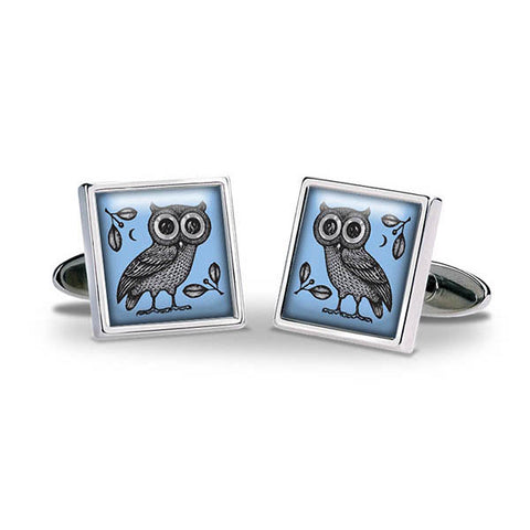 Greek Owl Cuff Links