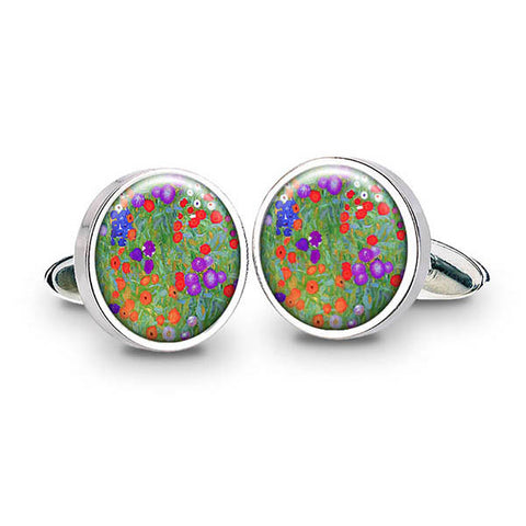 Klimt Flower Garden Cuff Links
