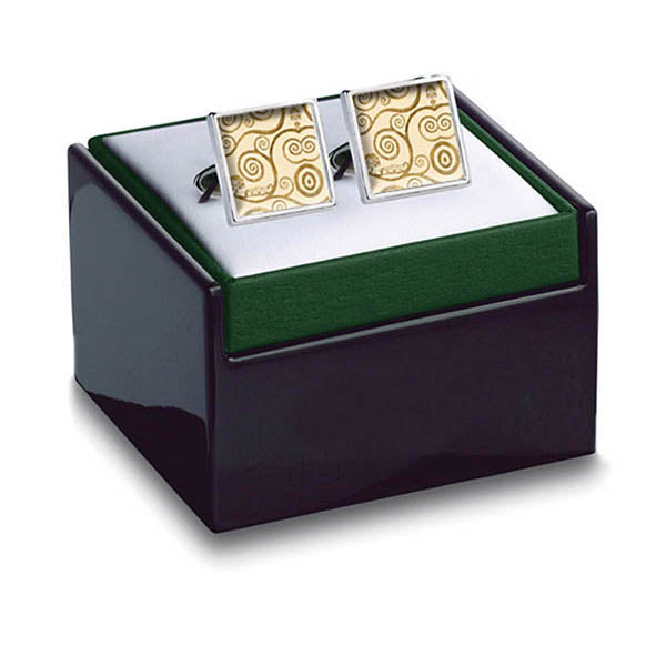 Klimt Tree of Life Gold Cuff Links in box