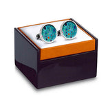 Klimt Turquoise Cuff Links in box