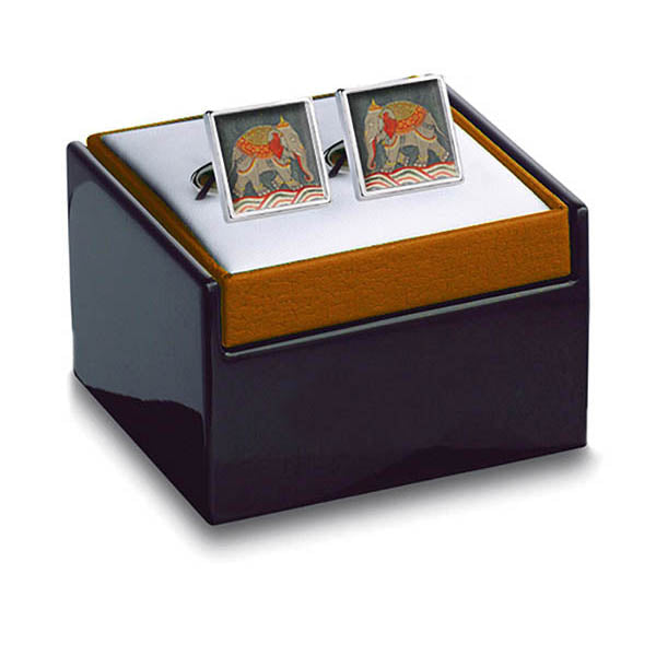 Mughal Elephant Cuff Links in box