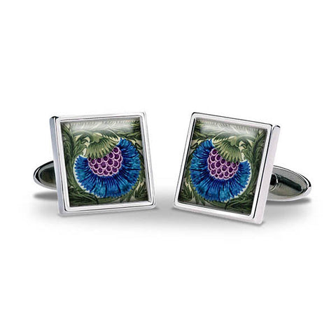 De Morgan Flowers Blue Cuff Links