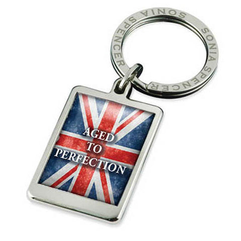 Aged To Perfection Flag Keyring