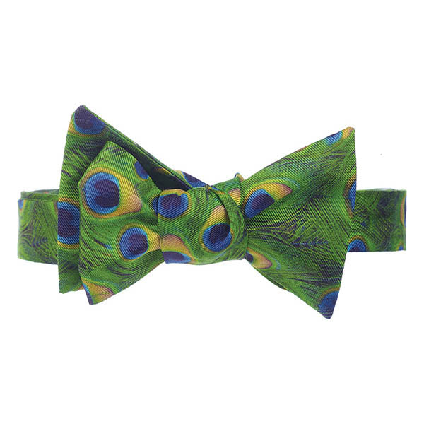 Peacock Feathers Bow Tie