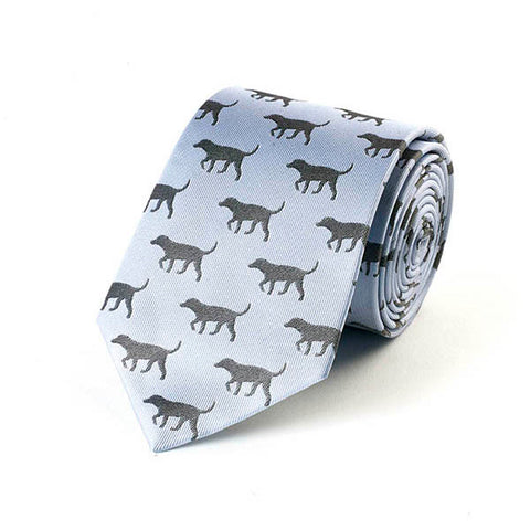 Black Lab Blue Silk Tie
