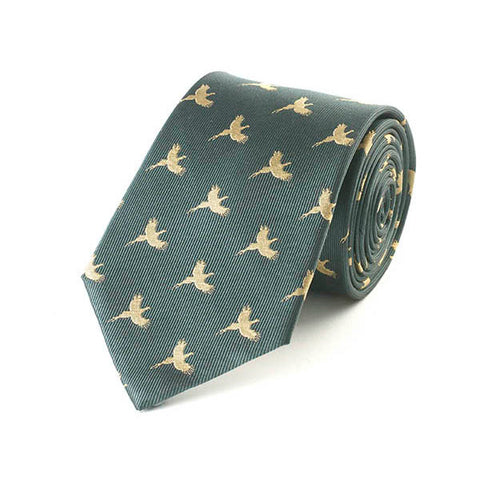 Flying Pheasant Green Silk Tie