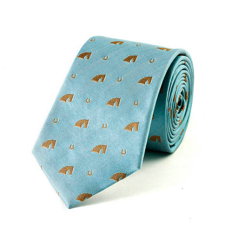 Horse Head & Horse Shoe Silk Tie