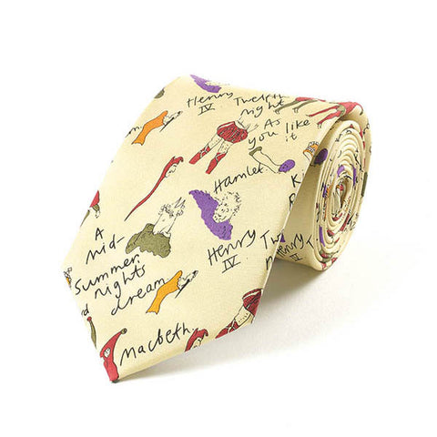 Shakespeare Plays Cream Silk Tie