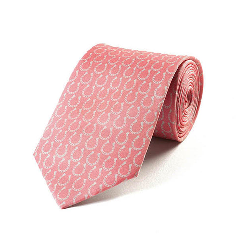 Horse Shoes Pink Silk Tie