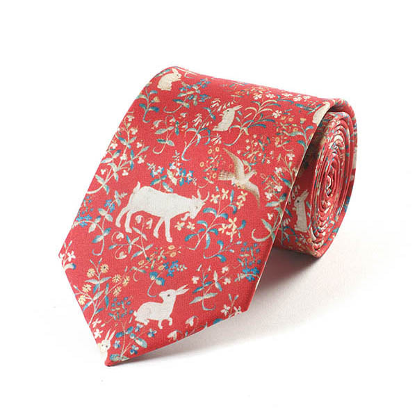 Cluny Tapestry Red Silk Tie