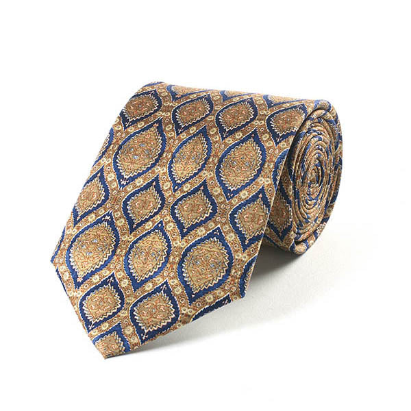 Islamic Blue and Gold Silk Tie