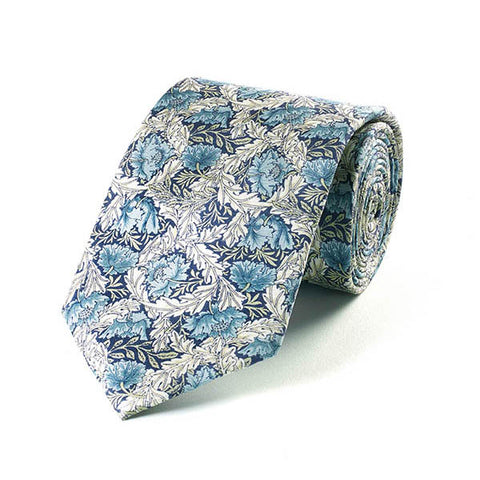 Morris Blue Poppy Silk Tie
