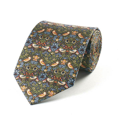Morris Strawberry Thief Green Silk Tie