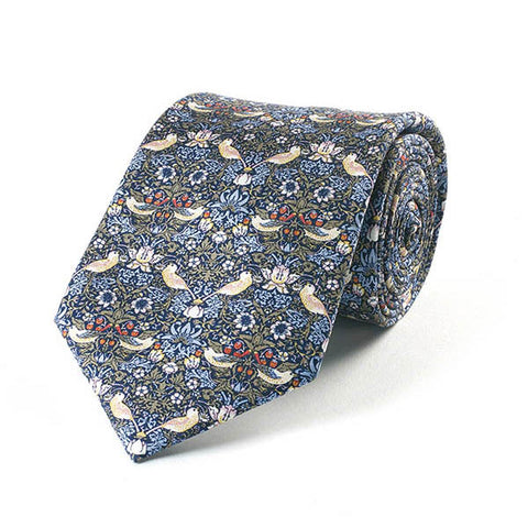 Morris Strawberry Thief Blue Silk Tie