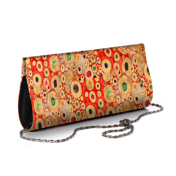 Klimt Red Silk Clutch Bag