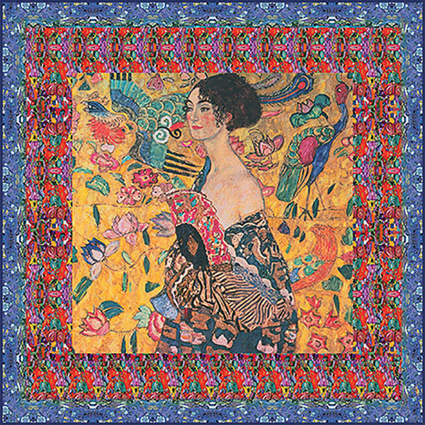 Klimt Lady with the Fan Silk Square