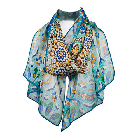 Marrakesh Blue Chiffon Scarf