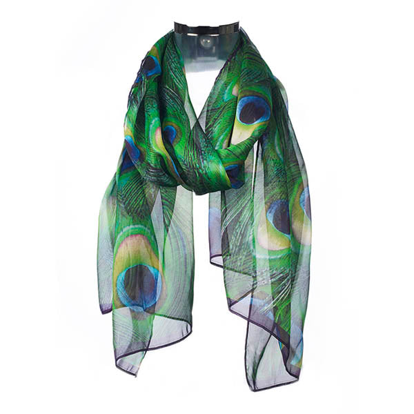 Peacock Feathers Chiffon Scarf