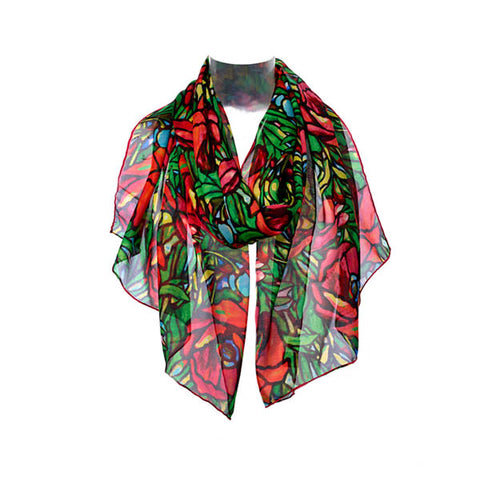 Tiffany Poppies Chiffon Scarf