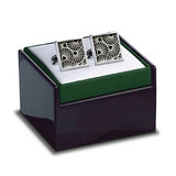 Deco Gingko Cuff Links in box