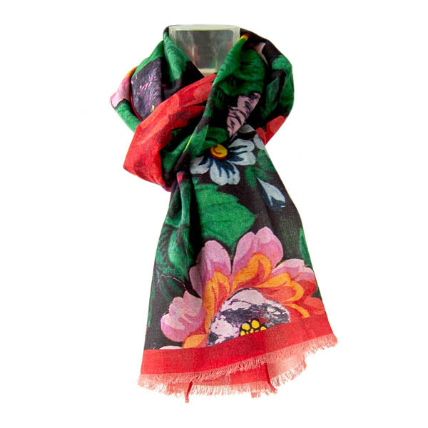 Russian Floral Silk & Wool Shawl