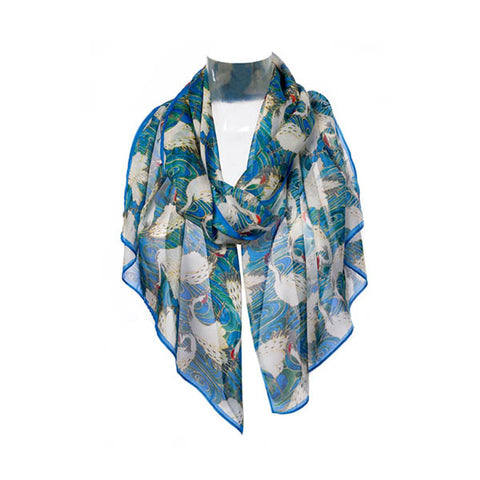 Cranes in Water Chiffon Scarf