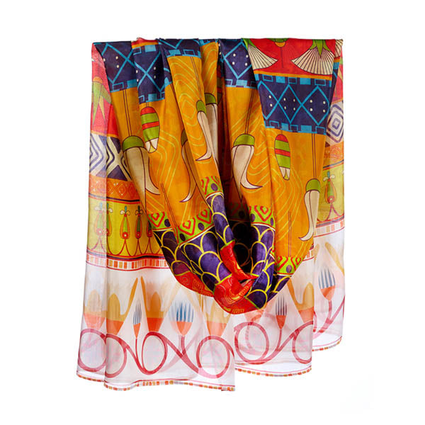 Egyptian Lotus Flower Habotai Silk Wrap