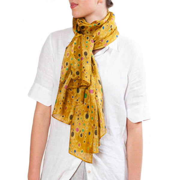 Klimt Gold Habotai Scarf with Model