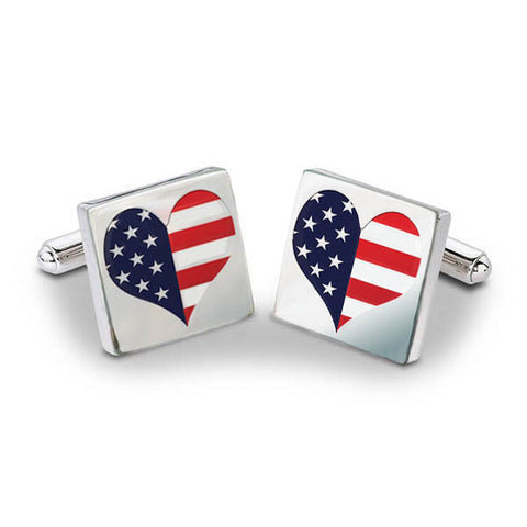 US Flag Heart Cuff Links