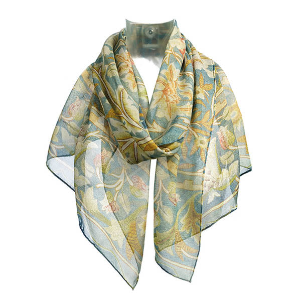 Morris Embroidery Chiffon Scarf