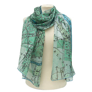 London Map Blue Chiffon Scarf