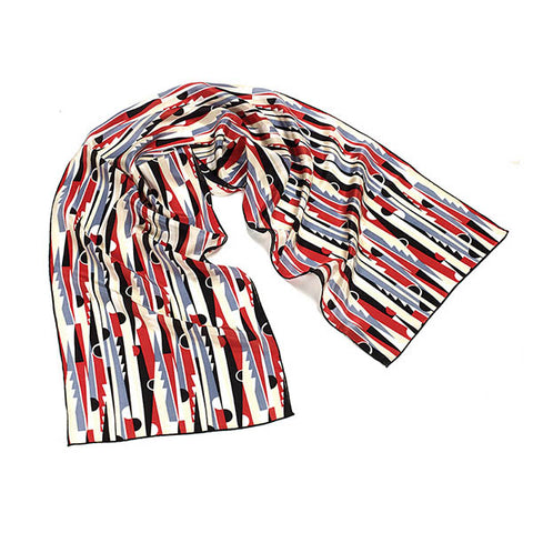 Deco Red & Black Crêpe de Chine Scarf
