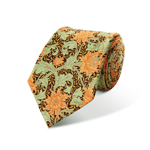 Morris Single Stem Coral Silk Tie