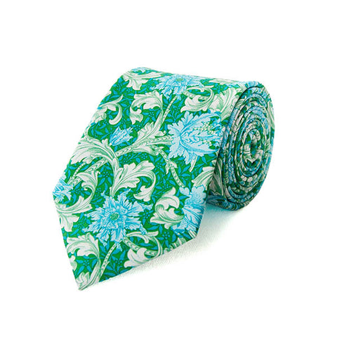 Morris Single Stem Aqua Silk Tie