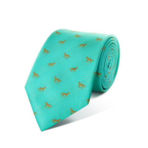 Galloping Horses Turquoise Silk Tie