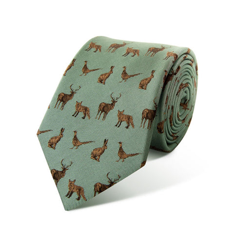 English Country Animals Silk Tie