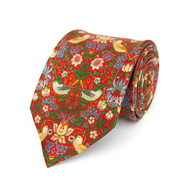 Morris Strawberry Thief Red Silk Tie