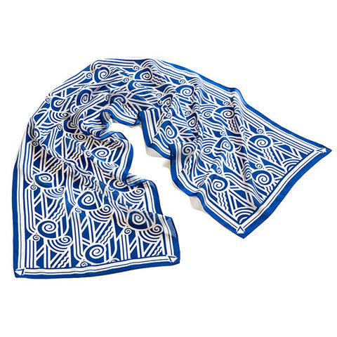 Deco Volute Blue Crêpe de Chine Scarf