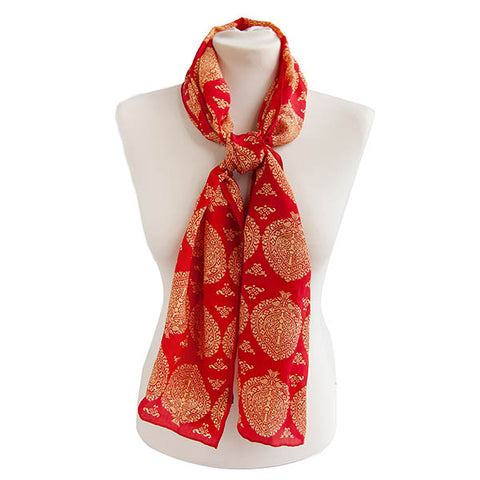 Red & Gold Islamic Crêpe de Chine Scarf