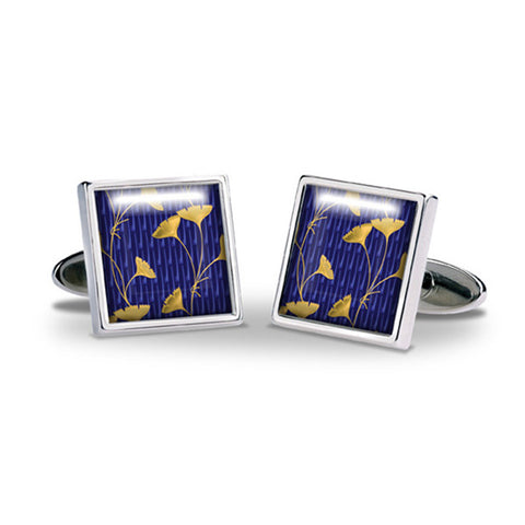 Enamel Gingko Leaf Cuff Links
