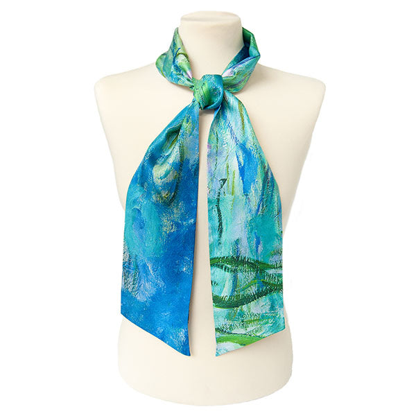 Monet Water Lilies Skinny Silk Scarf with Mannequin