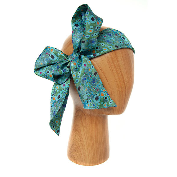 Klimt Turquoise Skinny Silk Scarf as headband