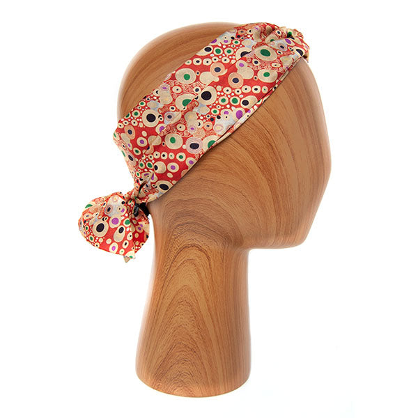 Klimt Red Skinny Silk Scarf as headband
