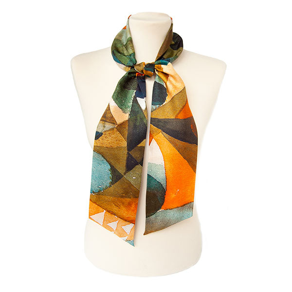 Paul Klee Composition Skinny Silk Scarf on mannequin