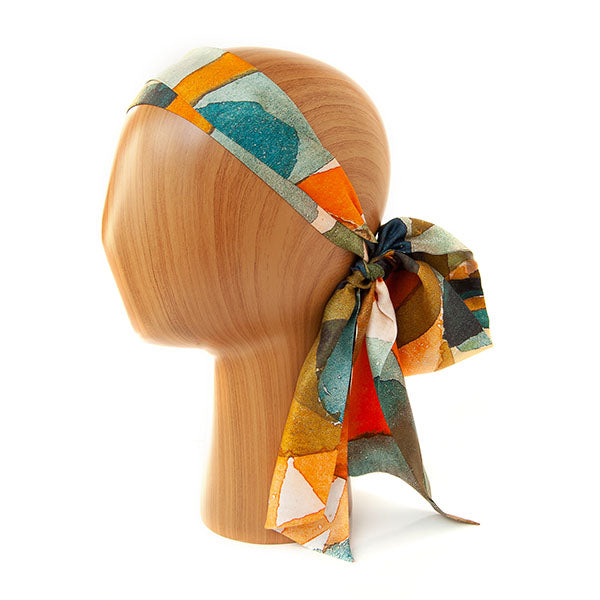 Paul Klee Composition Skinny Silk Scarf as headband