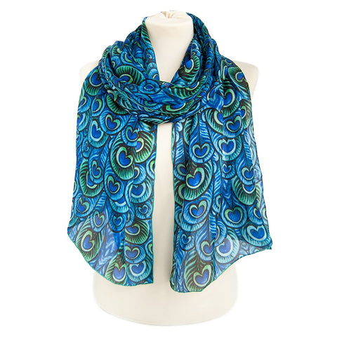 De Morgan Peacock Feathers Habotai Scarf