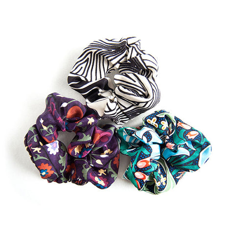'Amelia' - Set of 3 Silk Scrunchies
