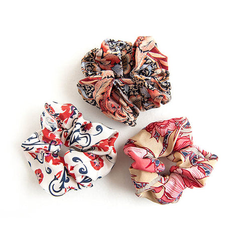 'Flora' - Set of 3 Silk Scrunchies