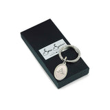 Etched Initial Keyring with box
