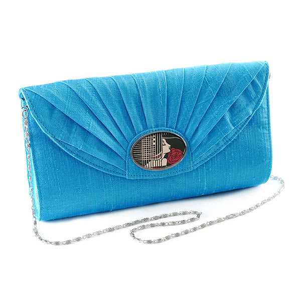 Turquoise Cameo Clutch